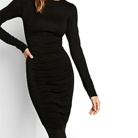 Express Dresses & Skirts - Express Black Long Sleeve Ruched Dress Small